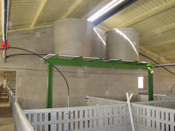 deposito agua poliéster de 3000 l elevados sobre estructura