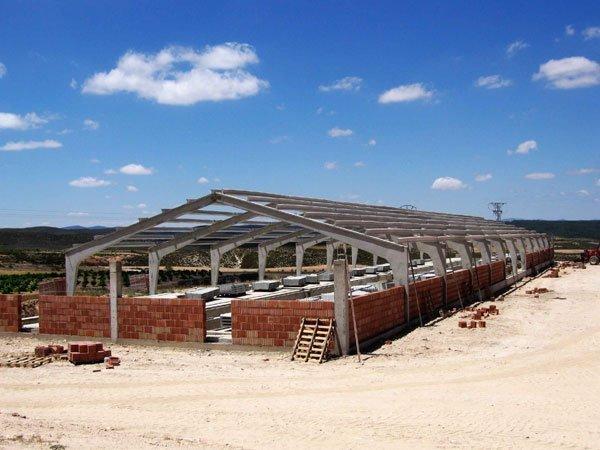 Construcción nave cebo cerdos en estructura