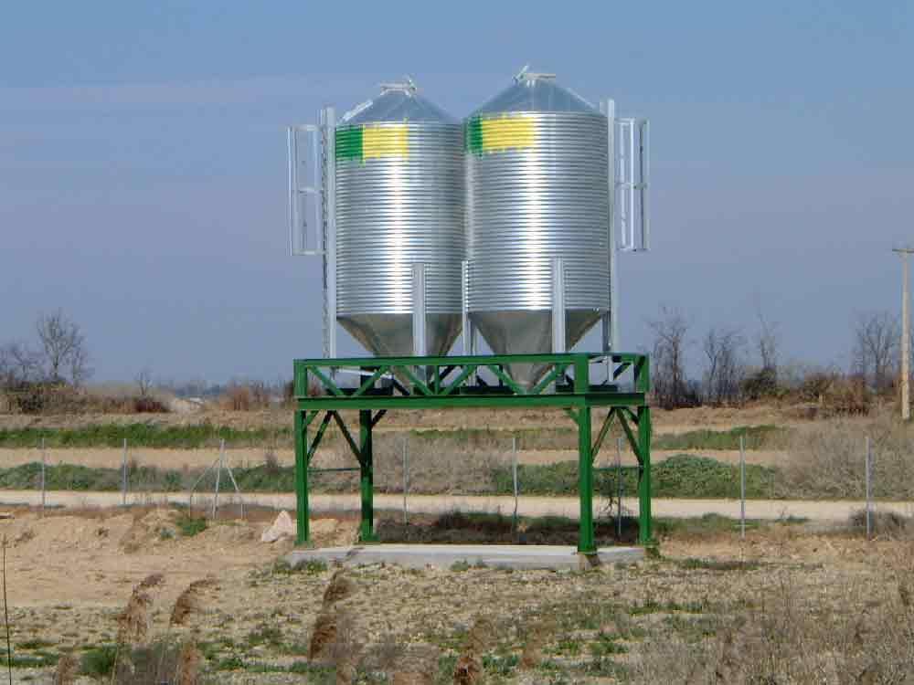 silos metálicos granja elevados para descarga a peso