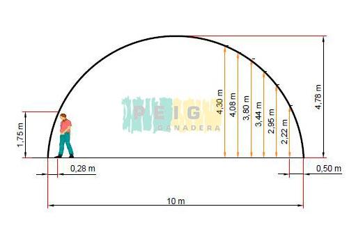 Cobertizo nave tipo túnel de 10 m
