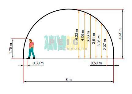 Cobertizo 8 metros de ancho